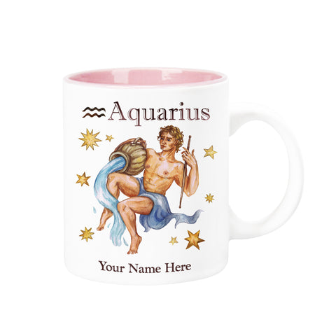 "Personalized ""Your Name Here"" Celestial Horoscope Ceramic Coffee Mug, 12 oz. with pink trim (AQUARIUS)"
