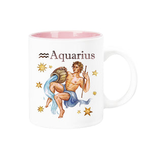 Celestial Horoscope Ceramic Coffee Mug 12 oz with pink trim (AQUARIUS)