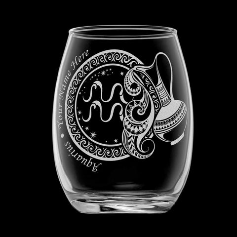Image of Personalized YOUR NAME HERE Laser Engraved AQUARIUS Horoscope Wineglass (15oz)
