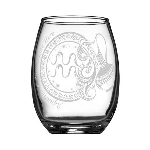 Personalized YOUR NAME HERE Laser Engraved AQUARIUS Horoscope Wineglass