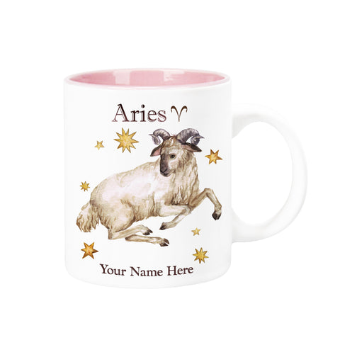 "Personalized ""Your Name Here"" Celestial Horoscope Ceramic Coffee Mug, 12 oz. with pink trim (ARIES)"