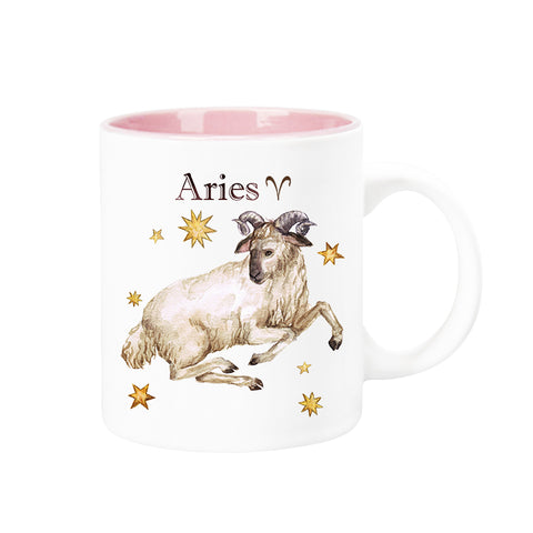 Celestial Horoscope Ceramic Coffee Mug 12 oz with pink trim (ARIES)