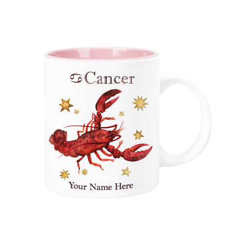 "Personalized ""Your Name Here"" Celestial Horoscope Ceramic Coffee Mug, 12 oz. with pink trim (CANCER)"