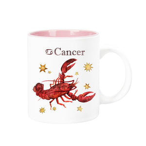 Celestial Horoscope Ceramic Coffee Mug 12 oz with pink trim (CANCER)