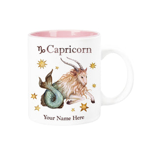 "Personalized ""Your Name Here"" Celestial Horoscope Ceramic Coffee Mug, 12 oz. with pink trim (CAPRICORN)"
