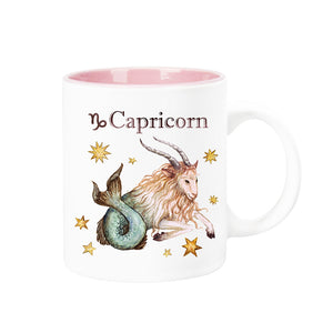 Celestial Horoscope Ceramic Coffee Mug 12 oz with pink trim (CAPRICORN)