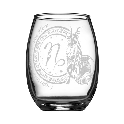 Image of Personalized YOUR NAME HERE Laser Engraved CAPRICORN Horoscope Wineglass (15oz)