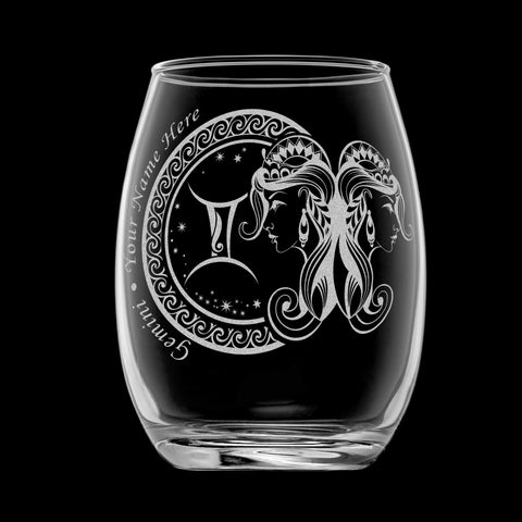 Personalized YOUR NAME HERE Laser Engraved GEMINI Horoscope Wineglass (15oz)