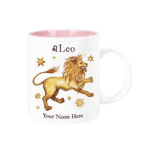 "Personalized ""Your Name Here"" Celestial Horoscope Ceramic Coffee Mug, 12 oz. with pink trim (LEO)"