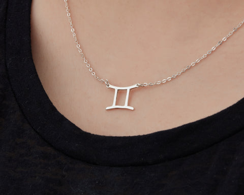 Image of Custom Handmade in Bali, Indonesia Solid, Pure Silver Horoscope Pendant (with 16-inch chain) Necklace (GEMINI)
