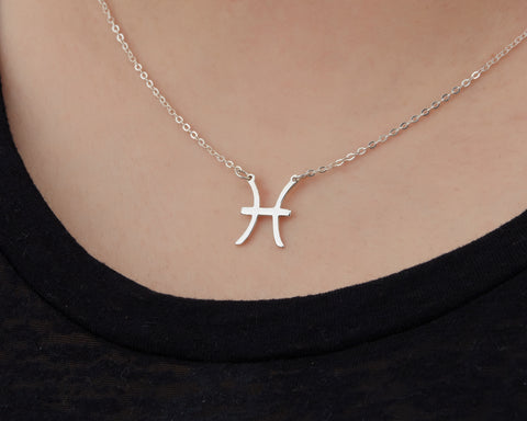 Image of Custom Handmade in Bali, Indonesia Solid, Pure Silver Horoscope Pendant (with 16-inch chain) Necklace (PISCES)