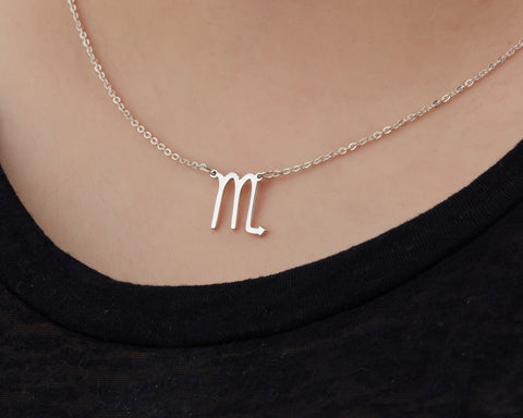 Image of Custom Handmade in Bali, Indonesia Solid, Pure Silver Horoscope Pendant (with 16-inch chain) Necklace (SCORPIO)