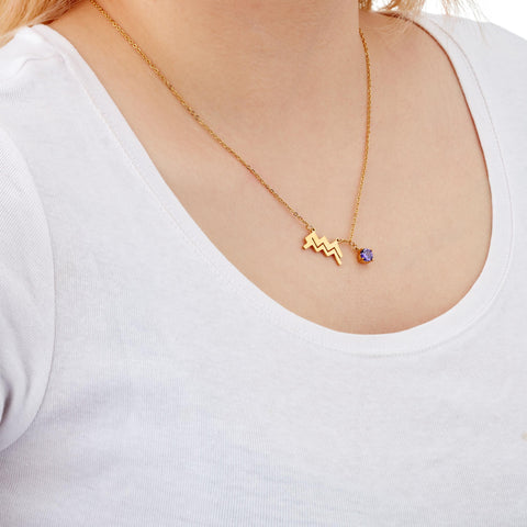 Image of Aquarius zodiac necklace on model