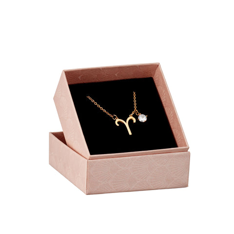 Image of Aries astrology sign necklace in gift box