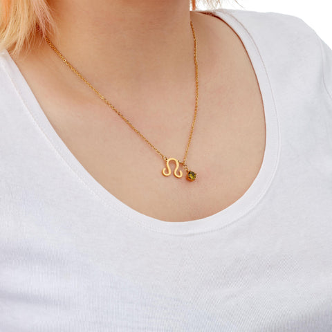 Image of Leo zodiac necklace on model