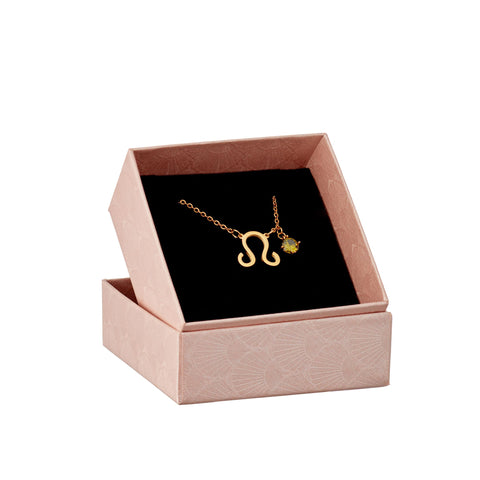 Leo zodiac necklace in gift box
