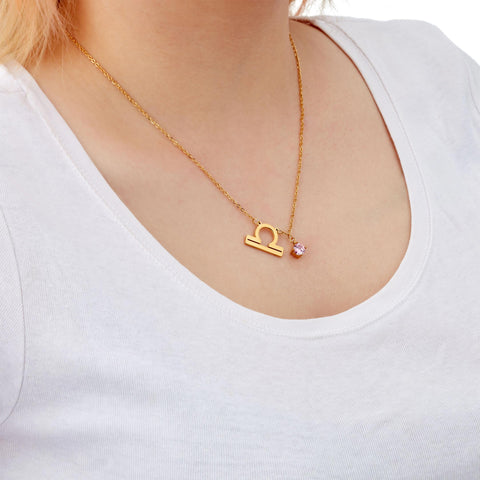 Image of Libra zodiac necklace on model