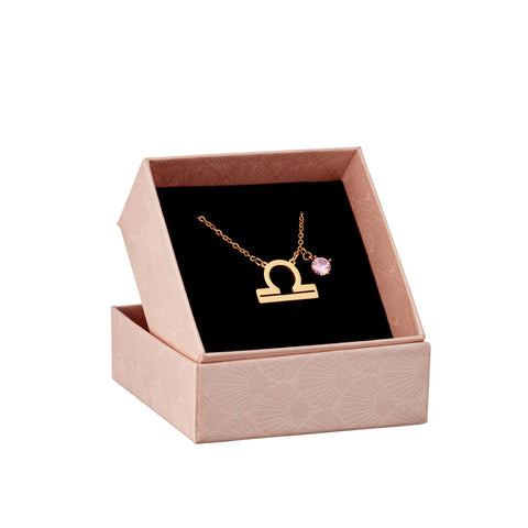 Image of Libra astrology sign necklace in gift box