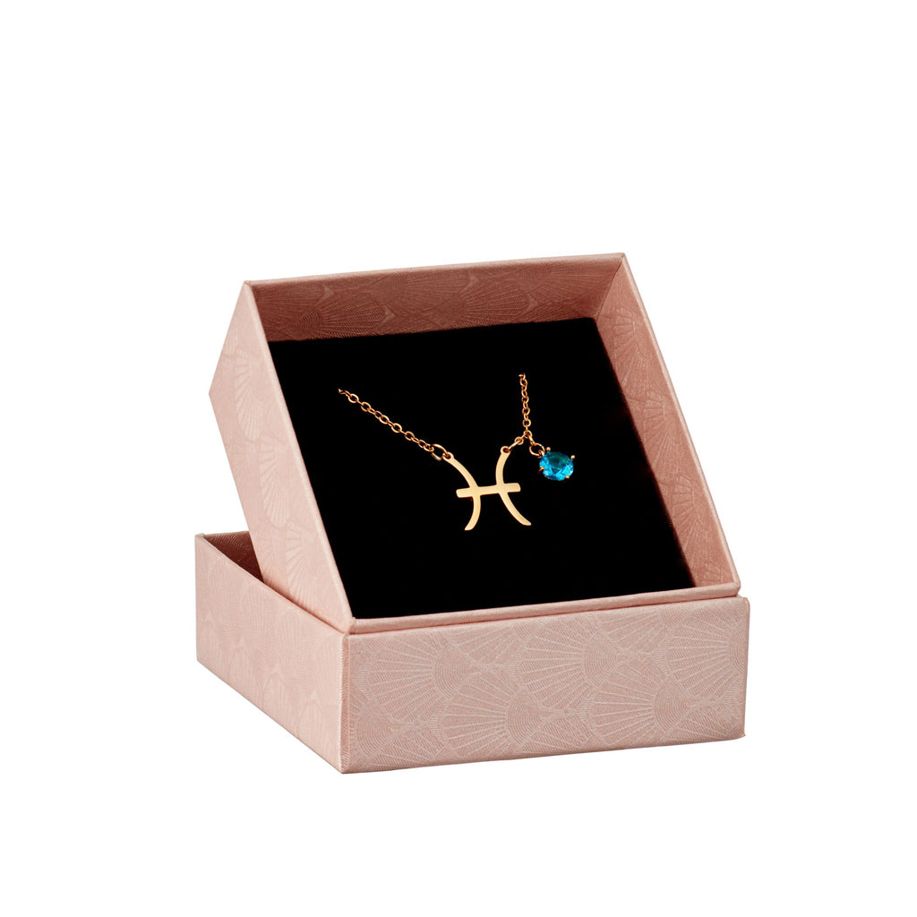Pisces astrology sign necklace in gift box