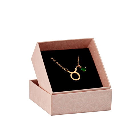 Image of gold Taurus pendant and birthstone in a gift box
