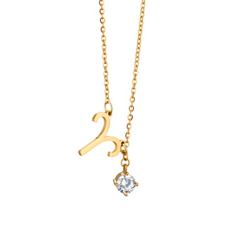 Image of gold plated Aries necklace with pendant and birth stone