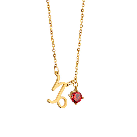 Image of gold plated Capricorn necklace with pendant and birth stone
