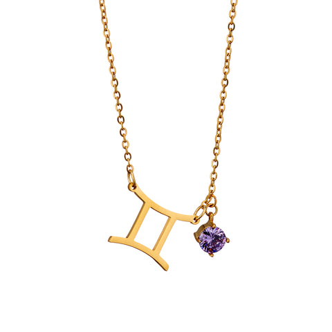 Image of gold plated Gemini necklace with pendant and birth stone
