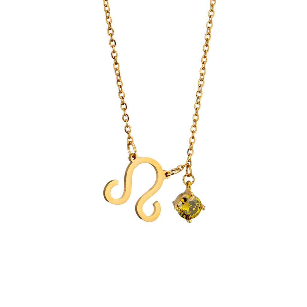 gold plated Leo necklace with pendant and birth stone