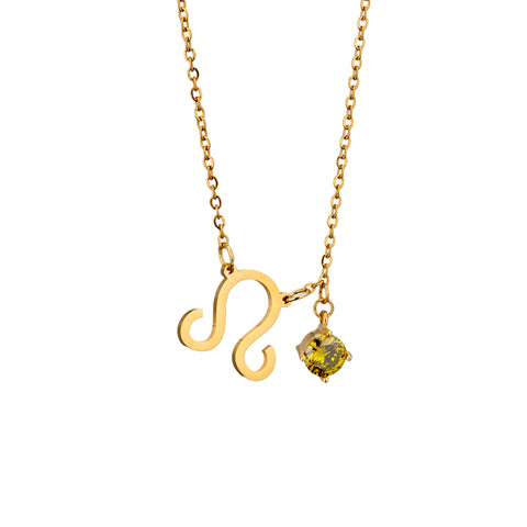 Image of gold plated Leo necklace with pendant and birth stone