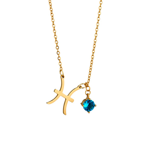 Image of gold plated Pisces necklace with pendant and birth stone