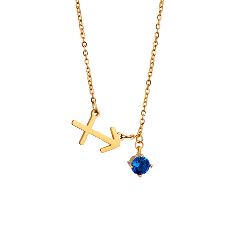 Image of gold plated Sagittarius necklace with pendant and birth stone