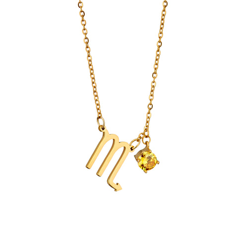 Image of gold plated Scorpio necklace with pendant and birth stone