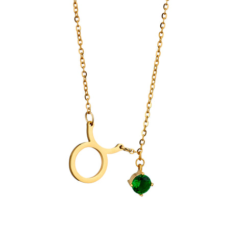 Image of gold plated Taurus necklace with pendant and birth stone