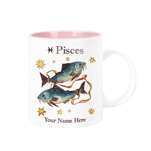 "Personalized ""Your Name Here"" Celestial Horoscope Ceramic Coffee Mug, 12 oz. with pink trim (PISCES)"