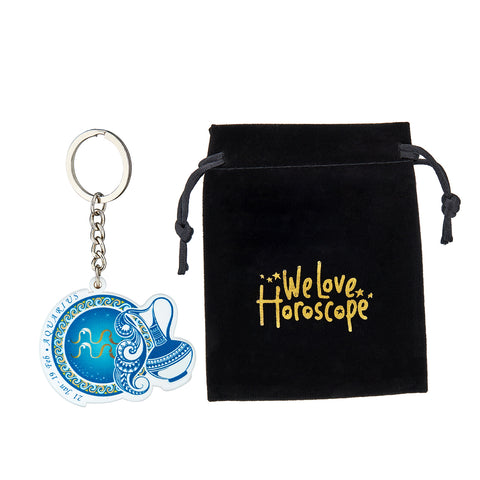 Image of Premium Quality Aquarius Horoscope Keychain