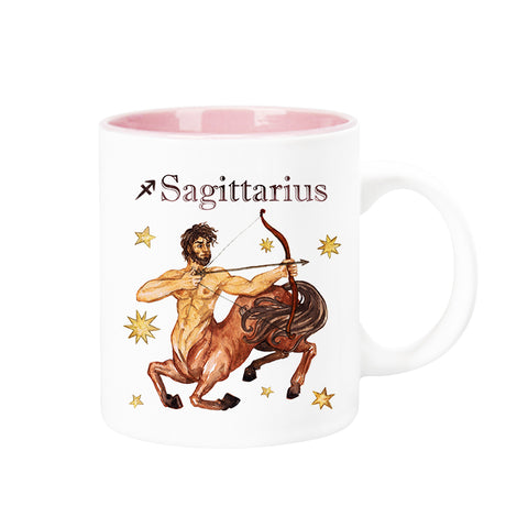 Celestial Horoscope Ceramic Coffee Mug 12 oz with pink trim (SAGITTARIUS)