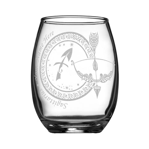 Personalized YOUR NAME HERE Laser Engraved SAGITTARIUS Horoscope Wineglass
