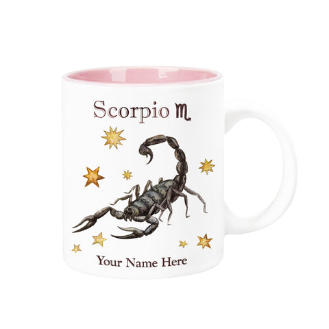 "Personalized ""Your Name Here"" Celestial Horoscope Ceramic Coffee Mug, 12 oz. with pink trim (SCORPIO)"
