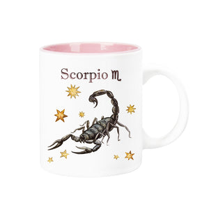Celestial Horoscope Ceramic Coffee Mug 12 oz with pink trim (SCORPIO)