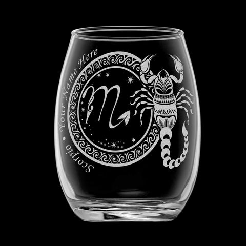 Image of Scorpio wineglass with laser engraved personalized name black background
