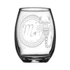 Scorpio wineglass with laser engraved personalized name white background