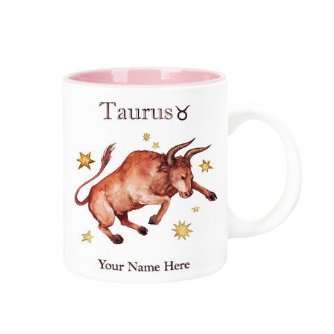 "Personalized ""Your Name Here"" Celestial Horoscope Ceramic Coffee Mug, 12 oz. with pink trim (TAURUS)"