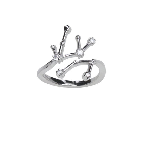 Pure Silver Horoscope Constellation Ring (Virgo)