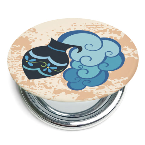 Image of Custom Printed Aquarius Star Sign Compact Foldable Mirror