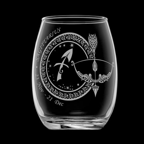 Laser Engraved Sagittarius Horoscope Wineglass (15oz)
