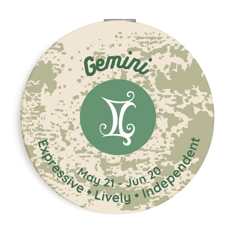 Image of Custom Printed Gemini Star Sign Compact Foldable Mirror