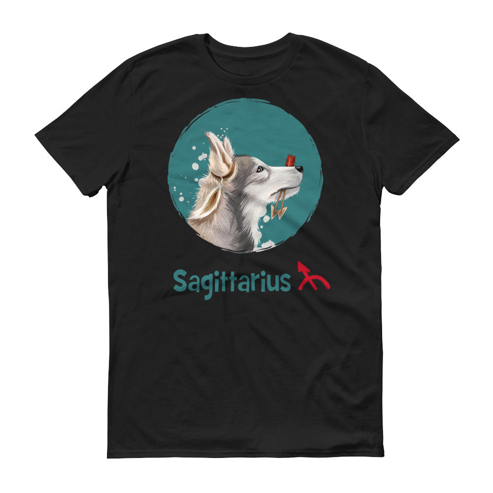 Adventurous Sagittarius Dog Short-Sleeve Dark T-Shirt