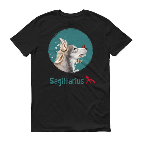 Image of Adventurous Sagittarius Dog Short-Sleeve Dark T-Shirt