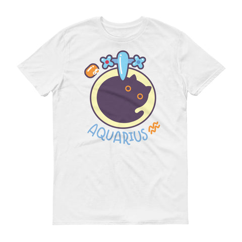 Aquarius Cat Short-Sleeve White T-Shirt