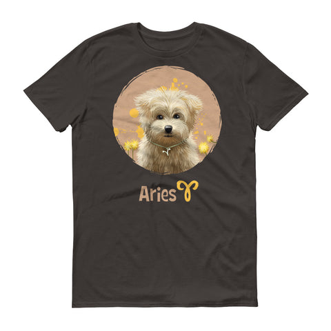 Image of Calm Aries Dog Short-Sleeve Dark T-Shirt